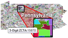 HTML5 US ZCTA map, zip code tabulation area map